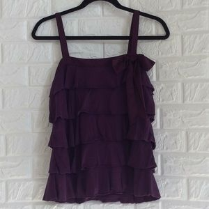 LOFT purple tiered ruffle tank with satin bow tie